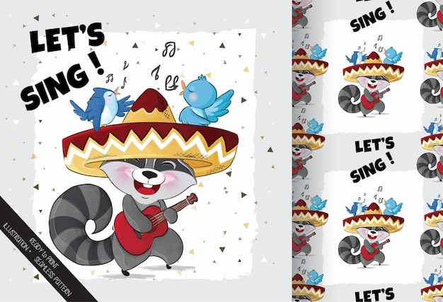 Słodki szop pracz szczęśliwy śpiew z ilustracją ptaka ilustracja tła