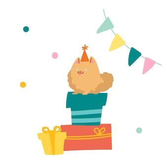 Słodki szpic siedzi na stosie pudełek. pies postać świętować urodziny. zabawny zwierzak w świątecznym kapeluszu usiądź na owiniętych prezentach w pokoju ozdobionym flagami i konfetti. ilustracja kreskówka wektor
