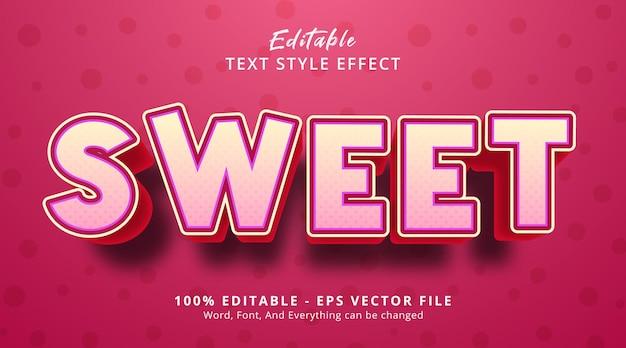Słodki tekst w różowym kolorze z nagłówkiem w stylu plakatu, edytowalny efekt tekstowy
