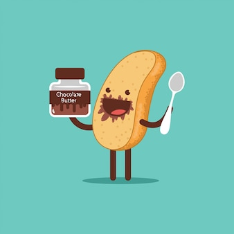 Słodki tost z masłem czekoladowym i łyżeczką. postać z kreskówki wektor zabawny chleb na białym tle.