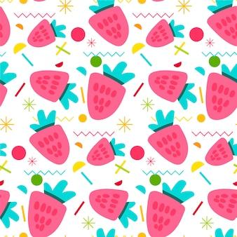 Słodki truskawkowy bezszwowy wzór
