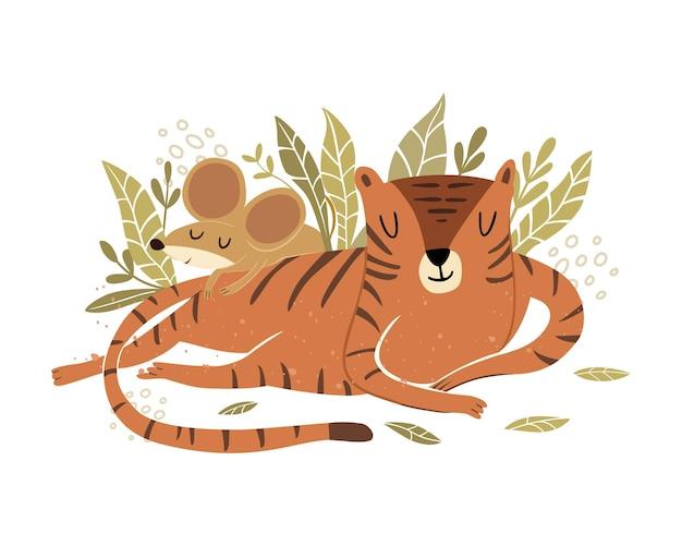Słodki tygrys spokojnie śpi w kwiatach z najlepszą przyjaciółką myszką