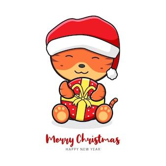 Słodki tygrys trzymający prezent pozdrowienie wesołych świąt i szczęśliwego nowego roku kreskówka doodle ilustracja karta