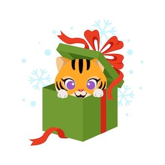 Słodki tygrys w świątecznym pudełku prezentowym