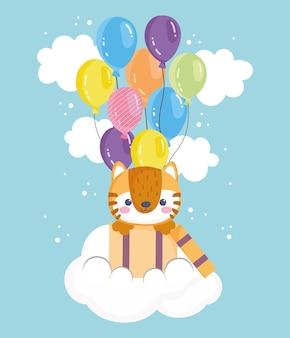 Słodki tygrys z balonami