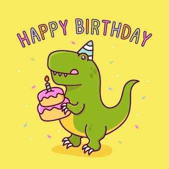 Słodki tyranozaur z tortem urodzinowym