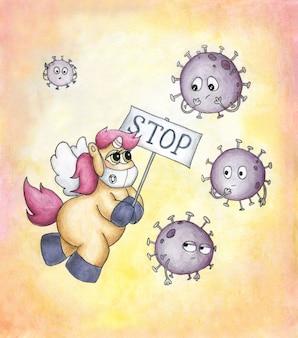 Słodki, uroczy jednorożec w masce medycznej szczęśliwie latający z banerem wśród kreskówkowych wirusów. śmieszne wirusy czują się bezsilne i zdenerwowane. ręcznie rysowane ilustracji. koncepcja koronawirusa.
