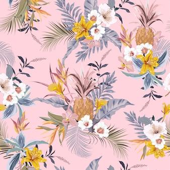 Słodki, vintage pastelowy las tropikalny egzotyczne kolorowe kwiaty rajskiego ptaka,