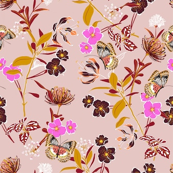 Słodki wektor kwiatowy wzór botaniczny wektor bez szwu