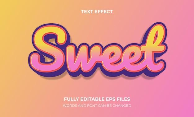 Słodki wektor stylu tekstu 3d
