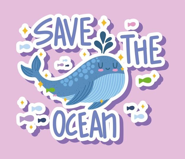 Słodki wieloryb uratuj kreskówkę oceanu