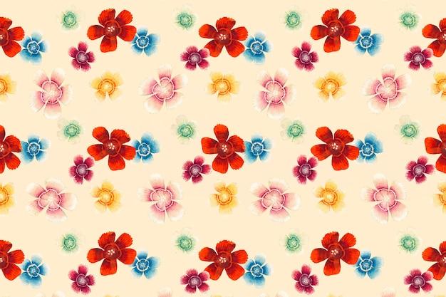 Słodki william kwiatowy wzór tła wektor, remiks z dzieł sztuki autorstwa zhang ruoai