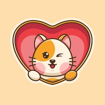 Słodki wyskakujący kot z kreskówki serca