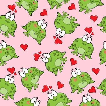 Słodki wzór z zabawnymi żabami w miłości - wektor