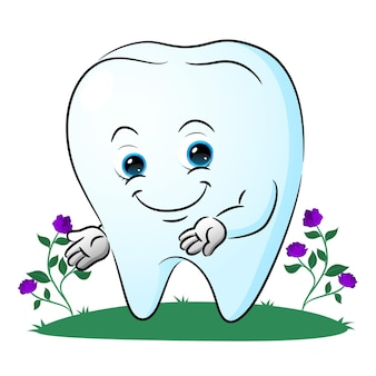 Słodki ząb pokazuje coś w ogrodzie ilustracji