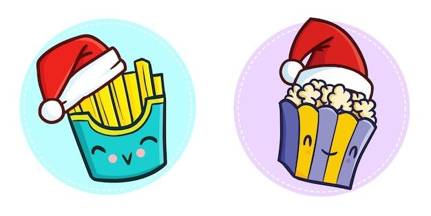 Słodki zabawny popcorn kawaii i frytki w czapce świętego mikołaja na boże narodzenie