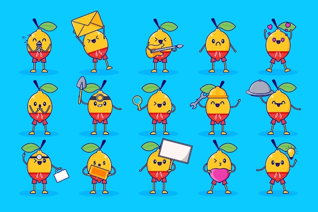 Słodki zestaw znaków cytryny