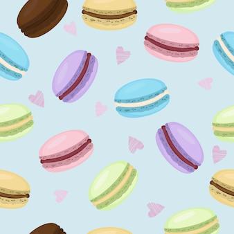 Słodkich macaroons bezszwowy deseniowy tło