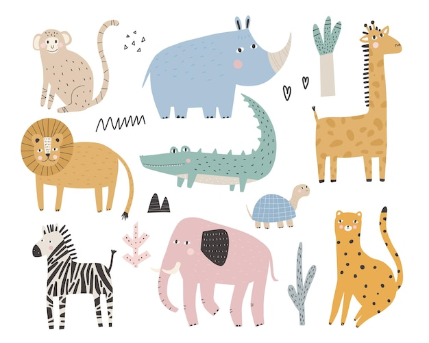 Słodkie afrykańskie zwierzęta i rośliny w skandynawskim stylu zwierzęta z kreskówek