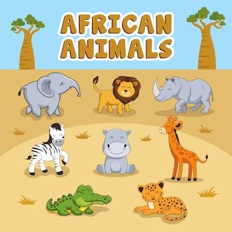 Słodkie afrykańskie zwierzęta kreskówka zestaw kolekcji