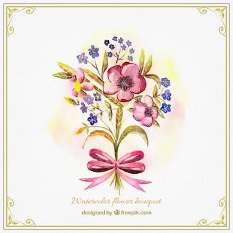 Słodkie akwarela bukiet kwiatów