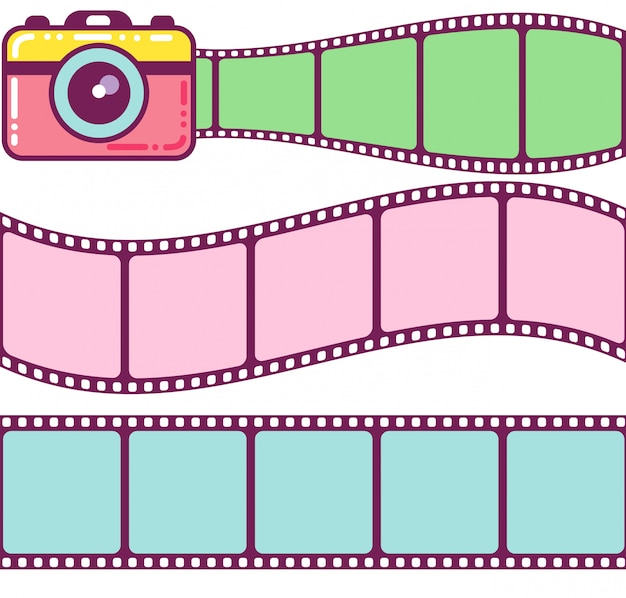 Słodkie aparaty fotograficzne i klasyczne klatki filmowe