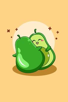 Słodkie awokado w ilustracja kreskówka dzień wegetarianizmu