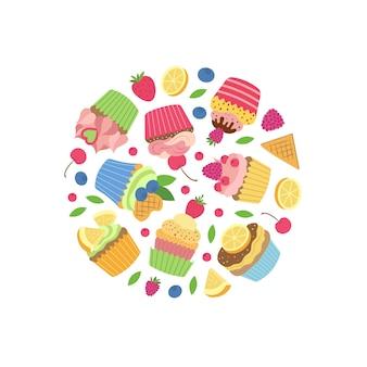 Słodkie babeczki lub babeczki kreskówka w kształcie koła