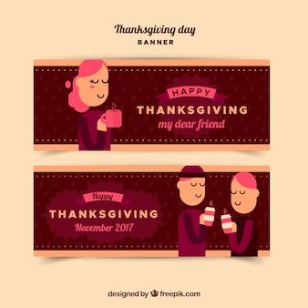 Słodkie banery dziękczynienia