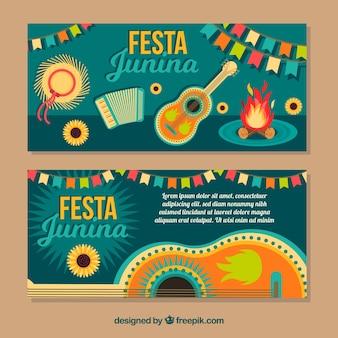 Słodkie banery festy junina z elementami w płaskim stylu