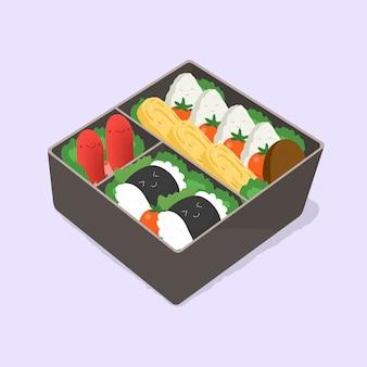Słodkie bento. japońskie pudełko na lunch. jedzenie śmieszne kreskówki. izometryczny ilustracja kolorowy