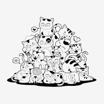 Słodkie bezszwowe ręcznie rysowane koty doodle