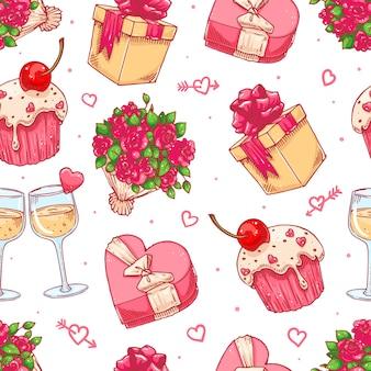 Słodkie bezszwowe tło na walentynki z bukietem róż, kieliszki do szampana i prezenty