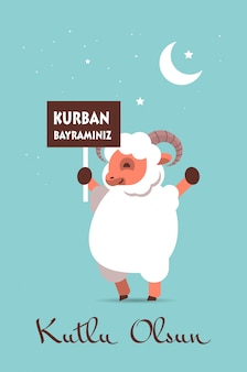 Słodkie białe owce trzymającekurban bayraminiz plakat eid-al-adha mubarak muzułmański baner świąteczny kutlu olsun