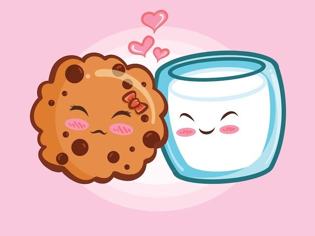 Słodkie ciasteczka chipsy czekoladowe i koncepcja para szkła mleka. kreskówka