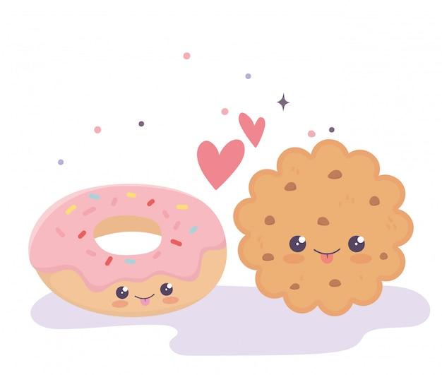 Słodkie ciasteczka i pączki uwielbiają serca kawaii postać z kreskówki
