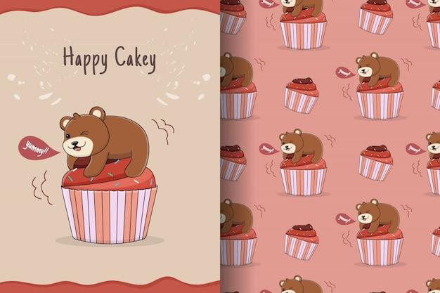 Słodkie ciastko niedźwiedź wzór i karta