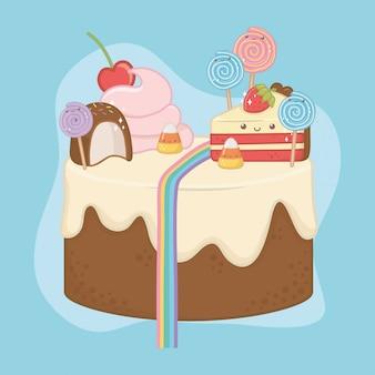Słodkie ciasto czekoladowe ze znakami kawaii