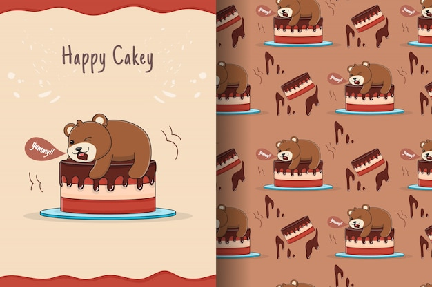 Słodkie ciasto niedźwiedź wzór i karta