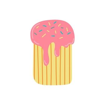 Słodkie ciasto wielkanocne. tradycyjne słodkie jedzenie. ilustracja na białym tle