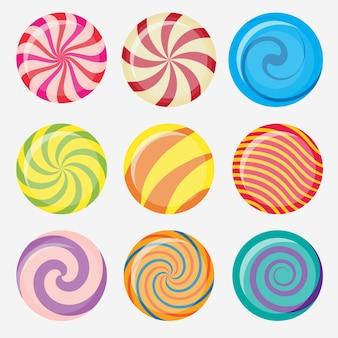 Słodkie cukierki, okrągły zestaw karmelowych lizaków, kolekcja kolorowych cukierków bez opakowania, słodycze z cukrem