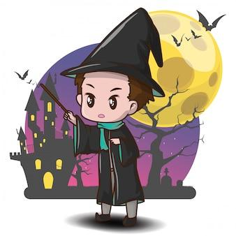 Słodkie czarodzieje z kreskówek na halloween