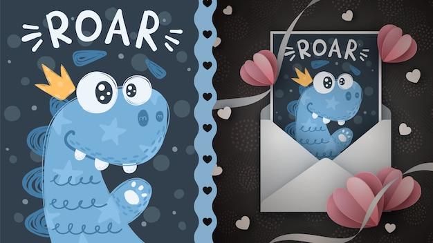 Słodkie dino - pomysł na kartkę z życzeniami