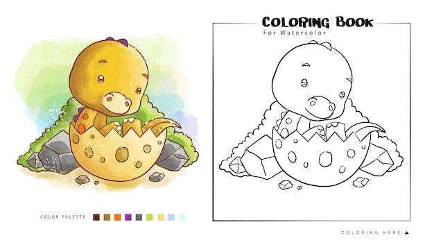 Słodkie dinozaury akwarela do kolorowania