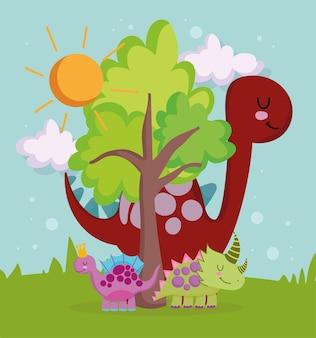 Słodkie dinozaury i drzewo