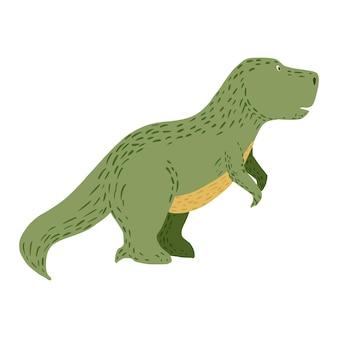 Słodkie dinozaury na białym tle. fantasy zwierząt jurajski tyranozaur w ilustracji wektorowych bazgroły.