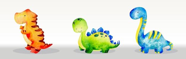 Słodkie dinozaury zestaw ilustracji akwarela