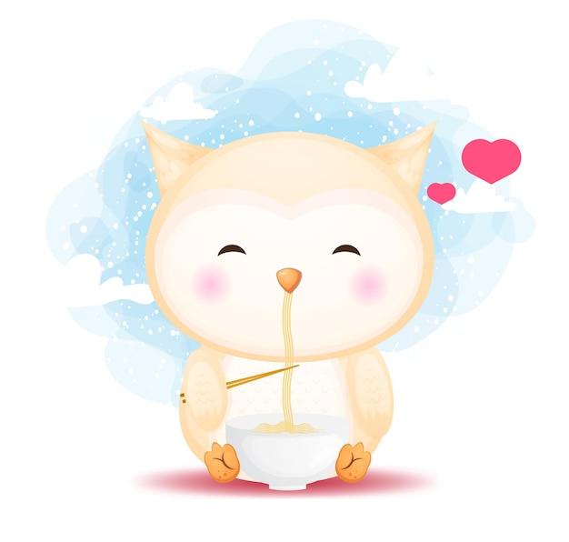 Słodkie doodle sowa dziecko jeść ramen makaron ilustracja kreskówka. jedzenie dla zwierząt