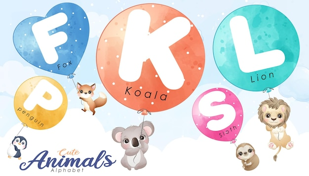 Słodkie Doodle Zwierzęta Latające Z Zestawem Ilustracji Balonu Premium Wektorów