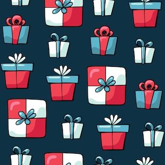 Słodkie doodles boże narodzenie kolorowe prezenty i prezenty wzór